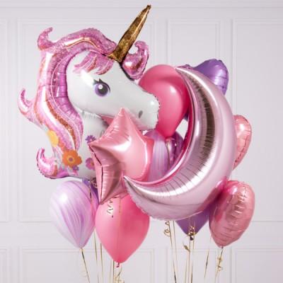 Надувной шарик Единорог и розовые шары на день рождения