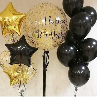 Большой шар с надписью HB Черное Золото в композиции из шаров