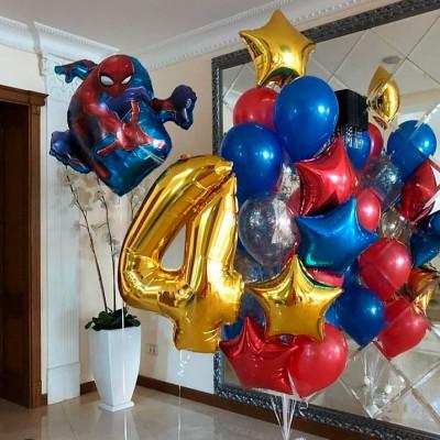 Воздушные шары Человек Паук с цифрой 4