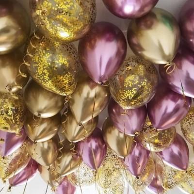 Шары под потолок Розовый хром и конфетти