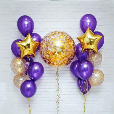 Большой шар с конфетти в композиции из шаров Золото Лаванда