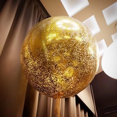 Метровый шар с конфетти золотым