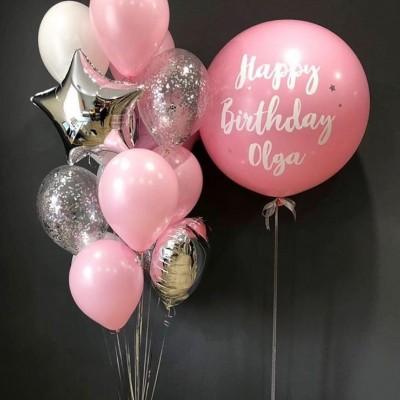 Большой шар с надписью HB Розовое Серебро в композиции из шаров