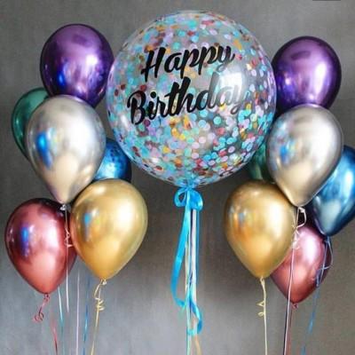 Большой шар с конфетти и надписью НВ в композиции из шаров хром
