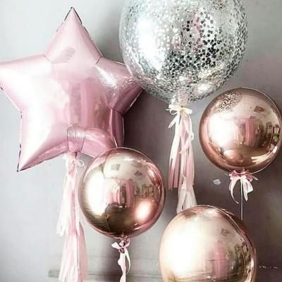 Большие шары в композиции из шаров Розовая Звезда