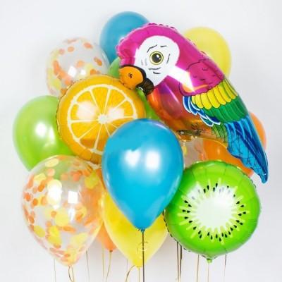 Шарик Попугай и букет из воздушных шаров