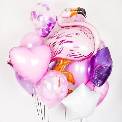 Шарик Фламинго и букет из шариков