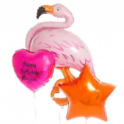 Фольгированный шар Фламинго и шарики с надписями