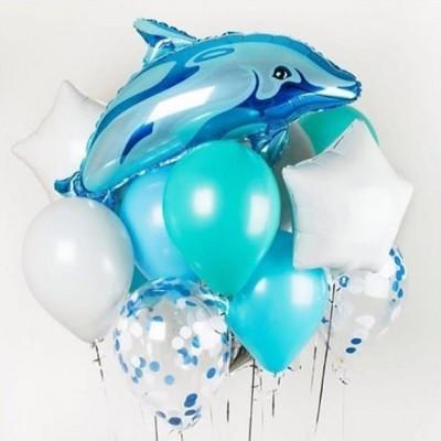 Букет из шаров и шар фольга Дельфин