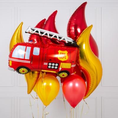 Шар Пожарная Машина и букет из шаров