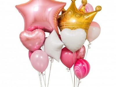 Шар Корона и шар большая Звезда  в композиции из шаров