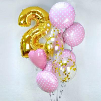 Фольгированный шар цифра 2 и фонтан из шариков Розовый Горох