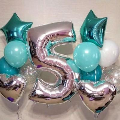 Шарики на день рождения 5 лет мальчику Голубое Серебро