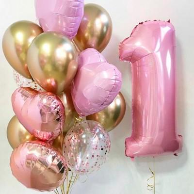 Воздушные шары на годик девочке Розовый и Золото