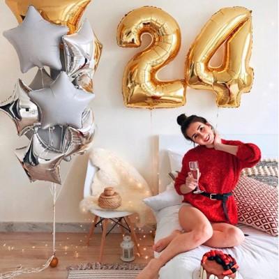 Гелиевые шары цифры 24 года Звездопад