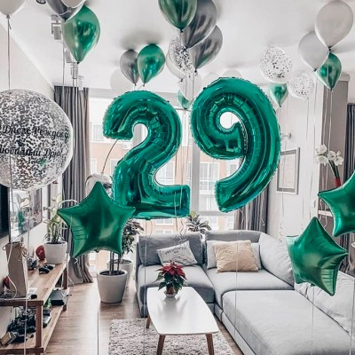 Гелиевые шары цифры 29 лет Мята и Серебро