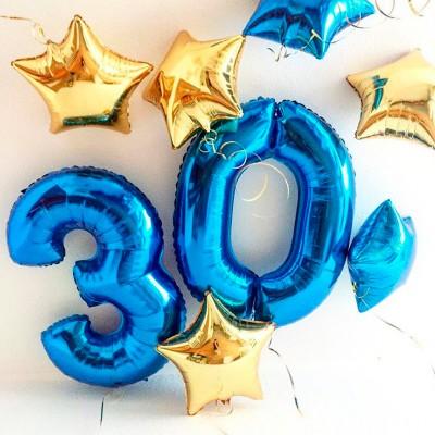 Воздушные шары 30 лет Золото и Синий