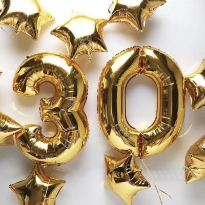 Шары 30 лет Золотые звезды