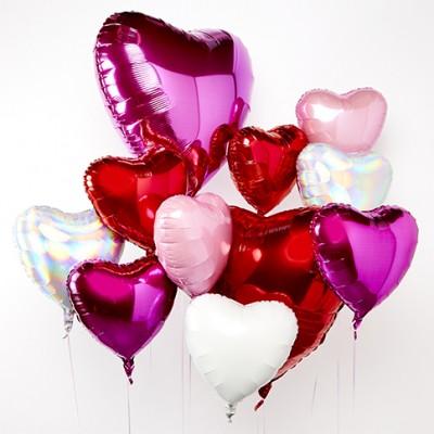 Большой шар сердце и шары в форме сердца Ассорти