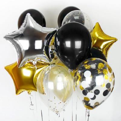 Букет из шариков Золото Серебро Черный