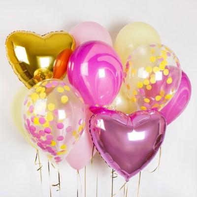 Набор воздушных шаров Микс Розовый Золото
