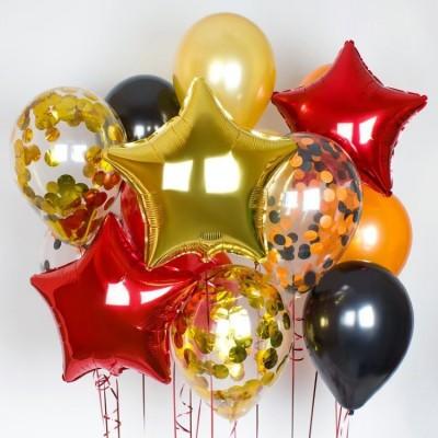 Гелиевые шарики на день рождения Красный Золото Черный