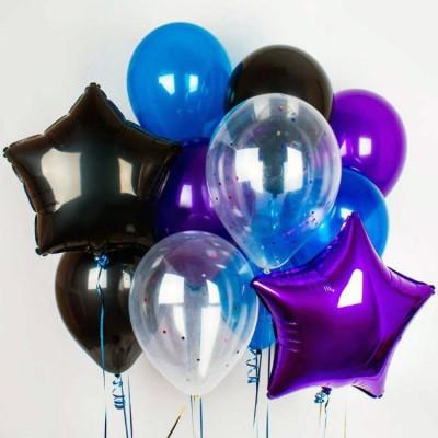 Букет из шаров Черный Фиолетовый Синий
