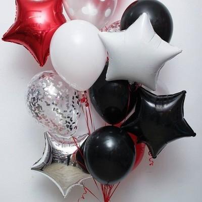 Букет из шариков Черный Белый Красный