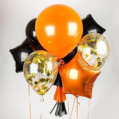 Гелиевые шары Микс Черный Оранжевый