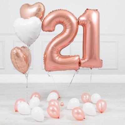 Фонтан из шаров с цифрой 21 год Розовое Золото