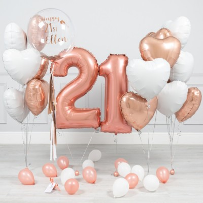 Композиции из шаров на день рождения 21 год Розовое Золото