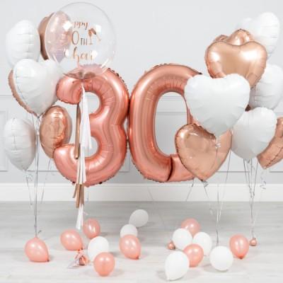 Композиции из шаров 30 лет Розовое Золото