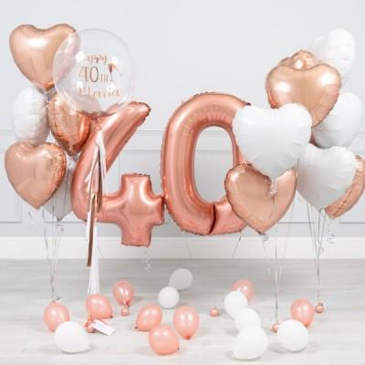 Композиции из шаров 40 лет Розовое Золото