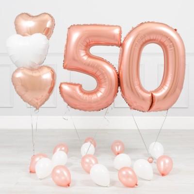 Шары на 50 лет женщине Розовое Золото