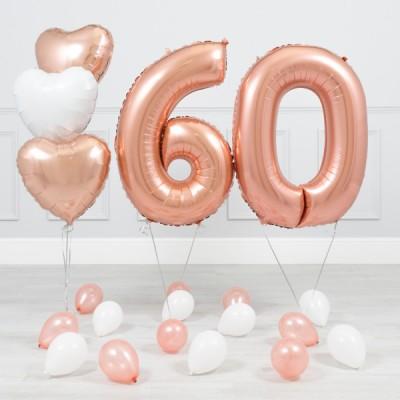 Шары с юбилеем 60 лет Розовое Золото