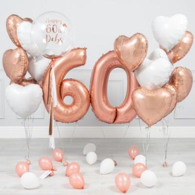 Шарики 60 лет Розовое Золото
