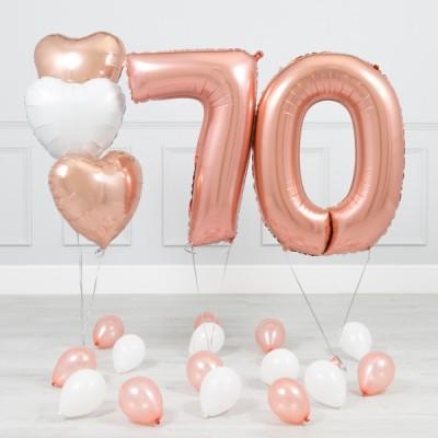 Шары цифры Розовое Золото 70 лет