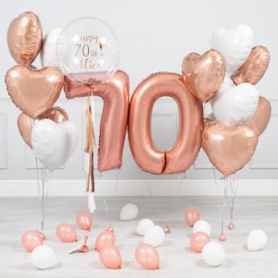 Шары на юбилей 70 лет женщине Розовое Золото