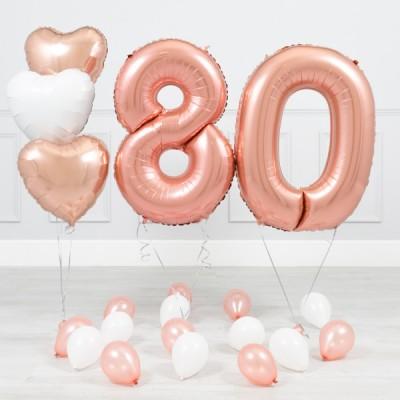 Фольгированные цифры Розовое Золото 80 лет