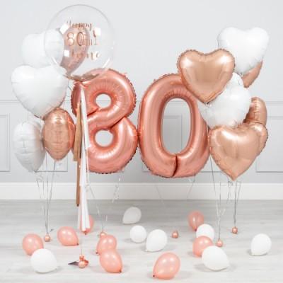 Композиции из шаров 80 лет Розовое Золото