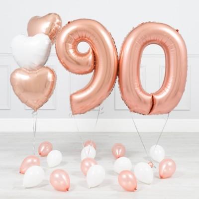 Фольгированные цифры Розовое Золото 90 лет