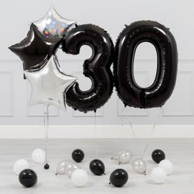 Шары цифры Черные 30 лет