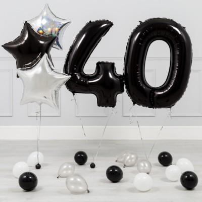 Шары цифры Черные 40 лет