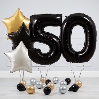 Шары 50 лет Черный Серебро и Золото