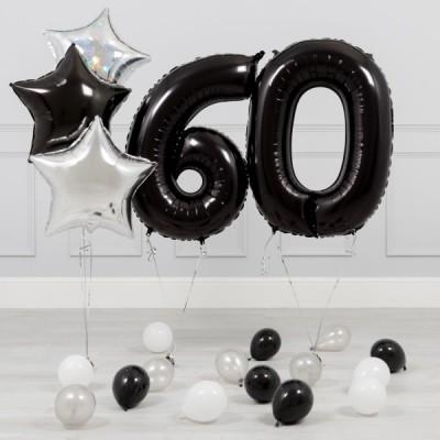 Шары цифры Черные 60 лет