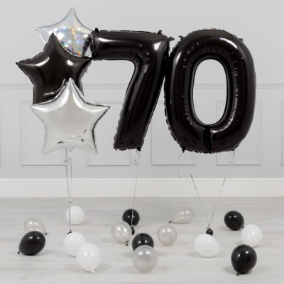 Шары цифры Черные 70 лет