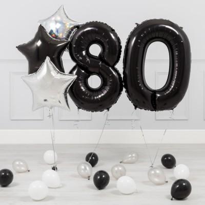 Шары цифры Черные 80 лет