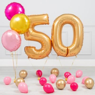 Шарики 50 лет Золото Нежный