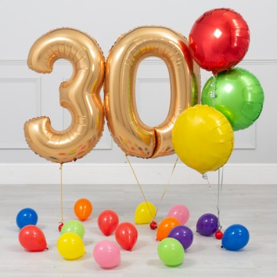 Фольгированные цифры золото 30 лет Яркий