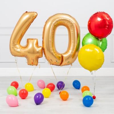 Цифры из фольгированных шаров 40 лет Золото Яркий